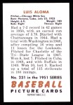 1951 Bowman REPRINT #231  Luis Aloma  Back Thumbnail