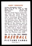 1951 Bowman REPRINT #51  Andy Seminick  Back Thumbnail