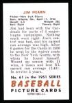 1951 Bowman Reprints #61  Jim Hearn  Back Thumbnail