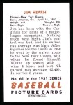 1951 Bowman REPRINT #61  Jim Hearn  Back Thumbnail