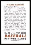 1951 Bowman REPRINT #98  Willard Marshall  Back Thumbnail