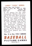 1951 Bowman REPRINT #2  Yogi Berra  Back Thumbnail
