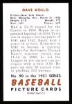 1951 Bowman REPRINT #90  Dave Koslo  Back Thumbnail