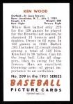 1951 Bowman REPRINT #209  Ken Wood  Back Thumbnail