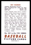 1951 Bowman REPRINT #241  Irv Noren  Back Thumbnail