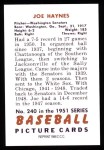 1951 Bowman REPRINT #240  Joe Haynes  Back Thumbnail