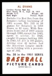 1951 Bowman REPRINT #38  Al Evans  Back Thumbnail
