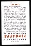 1951 Bowman REPRINT #168  Sam Mele  Back Thumbnail
