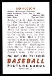 1951 Bowman REPRINT #169  Sid Hudson  Back Thumbnail
