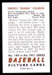 1951 Bowman REPRINT #149  Bubba Church  Back Thumbnail