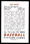1951 Bowman REPRINT #193  Ted Wilks  Back Thumbnail
