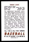 1951 Bowman REPRINT #140  Eddie Lake  Back Thumbnail