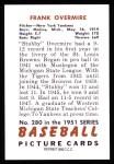 1951 Bowman REPRINT #280  Frank Overmire  Back Thumbnail