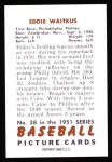 1951 Bowman REPRINT #28  Eddie Waitkus  Back Thumbnail