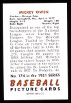 1951 Bowman REPRINT #174  Mickey Owen  Back Thumbnail