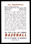 1951 Bowman REPRINT #239  Bill MacDonald  Back Thumbnail