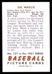 1951 Bowman REPRINT #127  Sal Maglie  Back Thumbnail