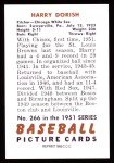 1951 Bowman REPRINT #266  Harry Dorish  Back Thumbnail