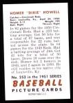 1951 Bowman REPRINT #252  Dixie Howell  Back Thumbnail