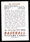 1951 Bowman REPRINT #165  Ted Williams  Back Thumbnail