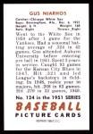 1951 Bowman REPRINT #124  Gus Niarhos  Back Thumbnail