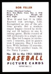 1951 Bowman REPRINT #30  Bob Feller  Back Thumbnail