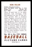 1951 Bowman REPRINT #30  Bob Feller  Back Thumbnail