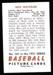 1951 Bowman REPRINT #161  Wes Westrum  Back Thumbnail
