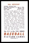 1951 Bowman REPRINT #211  Hal Jeffcoat  Back Thumbnail