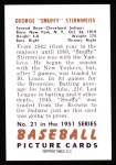 1951 Bowman REPRINT #21  Snuffy Stirnweiss  Back Thumbnail