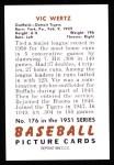 1951 Bowman REPRINT #176  Vic Wertz  Back Thumbnail