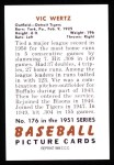 1951 Bowman REPRINT #176  Vic Wertz  Back Thumbnail
