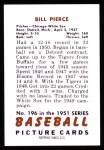 1951 Bowman REPRINT #196  Bill Pierce  Back Thumbnail