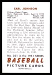 1951 Bowman REPRINT #321  Earl Johnson  Back Thumbnail