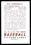 1951 Bowman REPRINT #31  Roy Campanella  Back Thumbnail