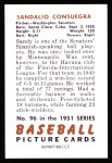 1951 Bowman REPRINT #96  Sandy Consuegra  Back Thumbnail