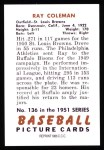 1951 Bowman REPRINT #136  Ray Coleman  Back Thumbnail