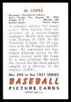 1951 Bowman REPRINT #295  Al Lopez  Back Thumbnail