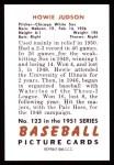 1951 Bowman REPRINT #123  Howie Judson  Back Thumbnail