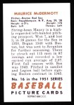 1951 Bowman REPRINT #16  Mickey McDermott  Back Thumbnail