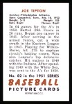 1951 Bowman REPRINT #82  Joe Tipton  Back Thumbnail