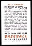 1951 Bowman REPRINT #74  Billy Johnson  Back Thumbnail