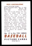 1951 Bowman REPRINT #17  Pete Castiglione  Back Thumbnail