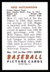1951 Bowman REPRINT #141  Fred Hutchinson  Back Thumbnail