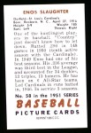1951 Bowman REPRINT #58  Enos Slaughter  Back Thumbnail
