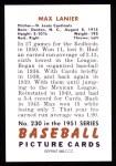 1951 Bowman REPRINT #230  Max Lanier  Back Thumbnail