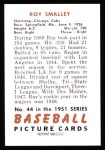 1951 Bowman REPRINT #44  Roy Smalley  Back Thumbnail