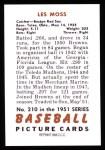 1951 Bowman REPRINT #210  Les Moss  Back Thumbnail