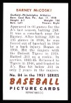 1951 Bowman REPRINT #84  Barney McCoskey  Back Thumbnail