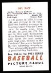 1951 Bowman REPRINT #156  Del Rice  Back Thumbnail